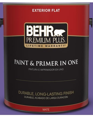 BEHR Premium Plus 1 gal. #P560-6 Just a Fairytale Flat Exterior Paint and Primer in One