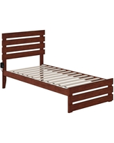 Twin Oxford Bed with Footboard and USB Turbo Charger Walnut - Atlantic Furniture