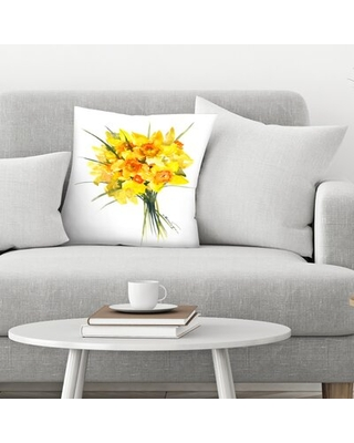 "Daffodil 1 Throw Pillow East Urban Home Size: 16"" x 16"""