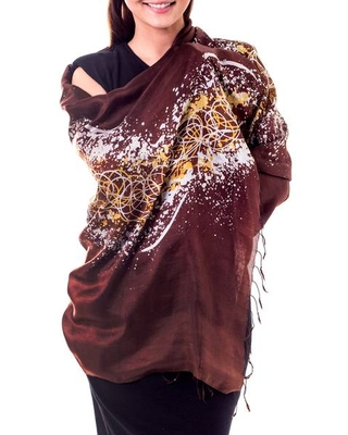 Silk Batik Shawl in Brown and Yellow from Thailand