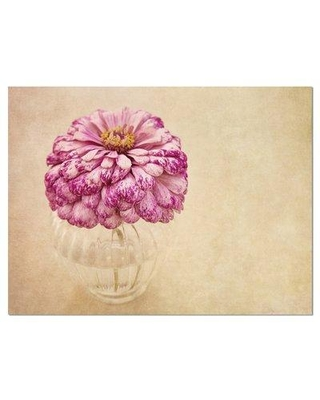 """Design Art 'Pink Flower in Vase Watercolor' Painting Print on Wrapped Canvas PT14190- Size: 30"""" H x 40"""" W"""
