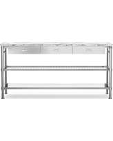 Modular Double Kitchen Island with Marble Top