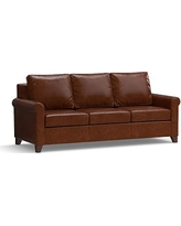 """Cameron Roll Arm Leather Sofa 90.5"""", Polyester Wrapped Cushions, Leather Statesville Molasses"""