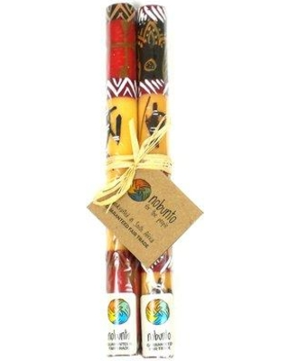 World Menagerie Tall Hand Painted Unscented Taper Candle W000699831 Color: Red/Yellow