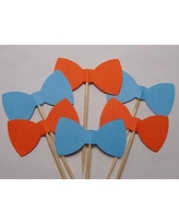 Orange and Aqua Blue Bow Tie Cupcake Toppers - Food Picks - Party Picks - Birthday Toppers - Baby Shower (Set of 24)