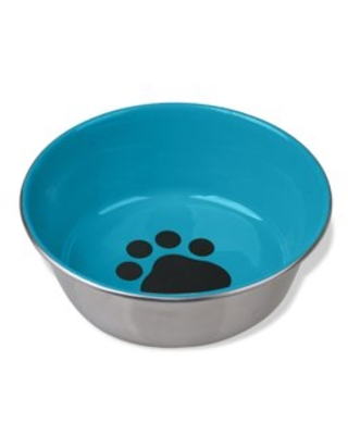 Van Ness Decorated Small Heavyweight Stainless Steel Dog Bowl, Full Rubber Base, 24 oz