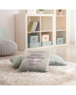 """East Urban Home Love and Family Throw Pillow EBJZ8372 Size: 26"""" H x 26"""" W Color: White/Violet"""
