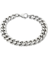 Men's Crucible Stainless Steel Beveled Curb Chain Bracelet (11mm) - Silver (8.5)