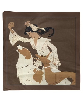 """Auguste Roubille Vintage Dog Biscuit Poster Cotton Napkin East Urban Home Color: Brown, Size: 0.1"""" H x 10"""" W x 10"""" D, Material: Poly Twill"""