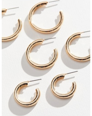 Hollow Hoop Earring Set - Gold at Urban Outfitters