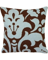 123 Creations Damask Foral Needlepoint Wool Throw Pillow C8.18x18 Color: Blue and Brown