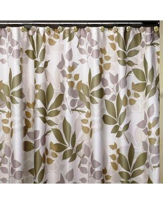 Sales For Creative Bath Shadow Leaves 72 In X 72 In 100 Cotton Botanical Themed Shower Curtain Muted Green Tan Lavender Against A Cream Background