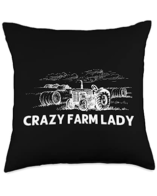 Best Tractor & Livestock Crop Husbandry Designs Funny Gift for Women Mama Farmer Tractor Farming Crop Throw Pillow, 18x18, Multicolor