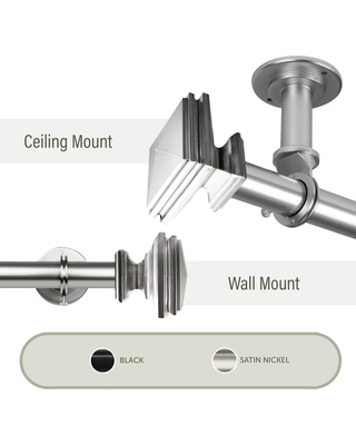 Rod Desyne Bedpost Ceiling 120 in. - 170 in., 1 in. Dia Single Curtain Rod/ Room Divider in Satin Nickel