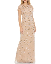 Mac Duggal Beaded Floral Applique A-Line Gown, Size 14 in Nude Multi at Nordstrom
