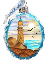 The Holiday Aisle Flower Lighthouse Coastal Glass Ornament THLY6753