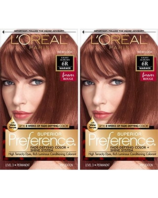 L'Oreal Paris Superior Preference Fade-Defying + Shine Permanent Hair Color, 6R Light Auburn, Pack of 2, Hair Dye
