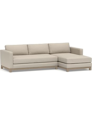 Jake Upholstered Left Arm 2-Piece Sectional with Chaise with Wood Legs, Polyester Wrapped Cushions, Performance Chateau Basketweave Oatmeal