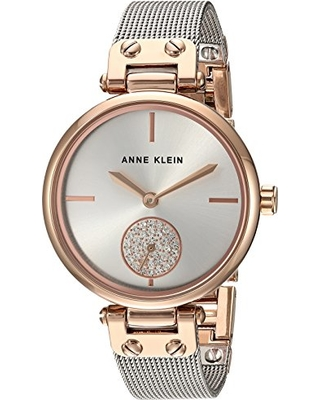 Anne Klein Anne Klein Women S Swarovski Crystal Accented Rose Gold Tone And Silver Tone Mesh Bracelet Watch From Amazon Real Simple