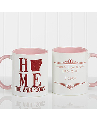 Personalized Romantic Coffee Mug - State Of Love - 11oz. With Pink Handle
