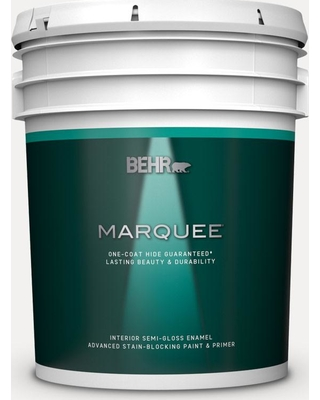 BEHR MARQUEE 5 gal. #W-D-600 Bridal Veil Semi-Gloss Enamel Interior Paint and Primer in One