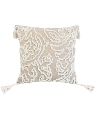 Chenille Damask Beige Rectangle Accent Pillow (Specialty - Beige)