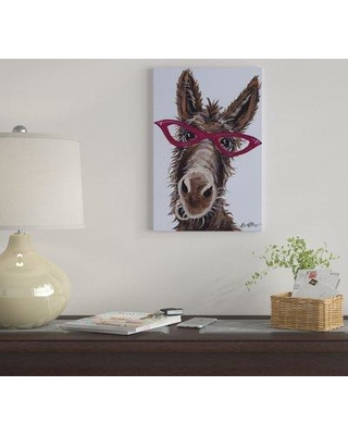 "East Urban Home 'Donkey With Glasses On Gray' by Hippie Hound Studios Graphic Art Print on Wrapped Canvas EUME4865 Size: 26"" x 18"" x 1.5"""