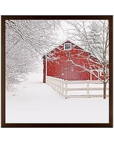 """Red Barn in the Snow by Cindy Taylor, 18 x 18"""", Wood Gallery, Espresso No Mat"""