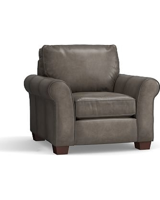 PB Comfort Roll Arm Leather Armchair, Polyester Wrapped Cushions, Leather Burnished Wolf Gray