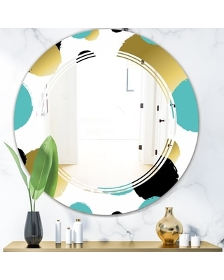 Spectacular Deals On Designart Gold And Blue Circles Modern Round Or Oval Wall Mirror Triple C 24 In Wide X 24 In High