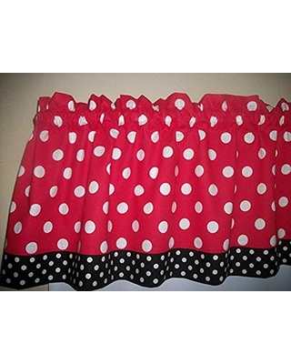 Deals On Red Black Polka Dot Mickey Minnie Mouse Retro Kitchen Bedroom Fabric Decor Window Treatment Curtain Topper Valance