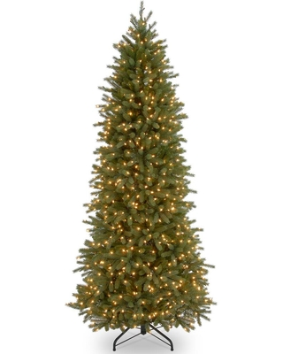 National Tree Company 12 ft. Jersey Fraser Fir Pencil Slim Artificial Christmas Tree with Clear Lights