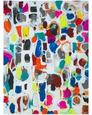 """Ebern Designs 'Celebration II' Acrylic Painting Print on Wrapped Canvas ENDE3238 Size: 32"""" H x 24"""" W x 2"""" D"""