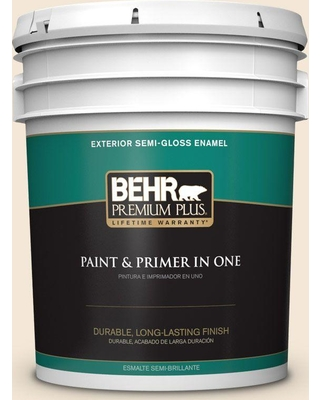 BEHR Premium Plus 5 gal. #bwc-23 Vanilla Frost Semi-Gloss Enamel Exterior Paint and Primer in One