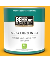Find Savings On Behr Premium Plus 1 Qt P260 5 Yellow Jubilee Semi Gloss Enamel Low Odor Interior Paint And Primer In One