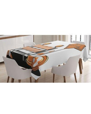 """East Urban Home Road Closed Sign w/ Traffic Warning w/ Blocker Stop IllustrationTablecloth, Polyester in Orange/Gray, Size 84""""H X 60""""W X 84""""D"""