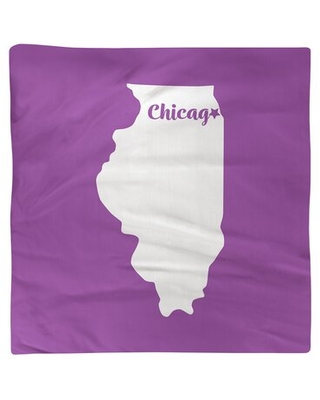 "Chicago Illinois Napkin East Urban Home Color: Violet, Size: 10"" W x 10"" D, Material: Polyester"