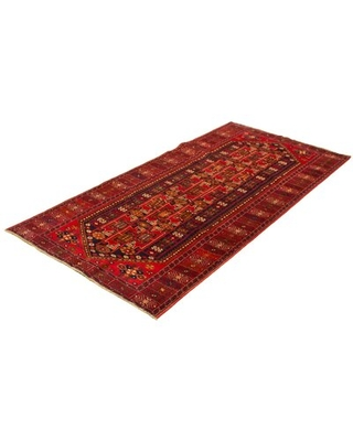 """One-of-a-Kind Bowdie Hand-Knotted 1980s 4'10"""" x 10' Wool Area Rug in Red Isabelline"""
