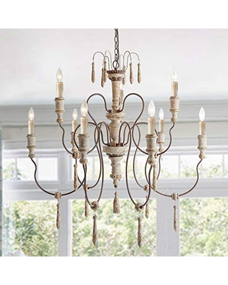 Laluz Farmhouse Wood Chandeliers For Dining Rooms 9 Distressed French Country Lighting D39 Xh38 A03483 From Martha