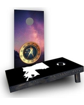 Custom Cornhole Boards Zodiac Stars Themed Cornhole Boards CCB904-C Bag Fill: Light Weight Boards with All Weather Bags Zodiac Sign: Sagittarius