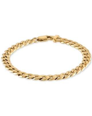 Esquire Men's Jewelry Curb Link Chain Bracelet in Yellow Ion-Plated Stainless Steel, Created for Macy's