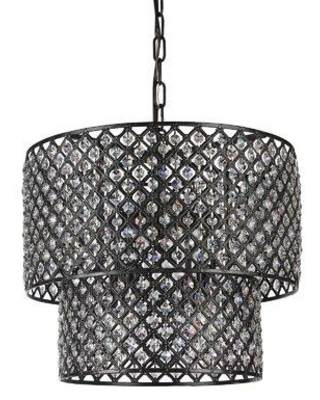 """House of Hampton® Clemence 8 - Light Unique/Statement Tiered Chandelier w/ Crystal Accents, Metal in Black, Size 53""""H X 17""""W X 17""""D 