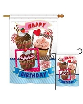 Breeze Decor Birthday Cupcake Special Occasion Party and Celebration Impressions 2-Sided Polyester Flag Set BD-PC-S-115096-IP-BO-D-US14-BD