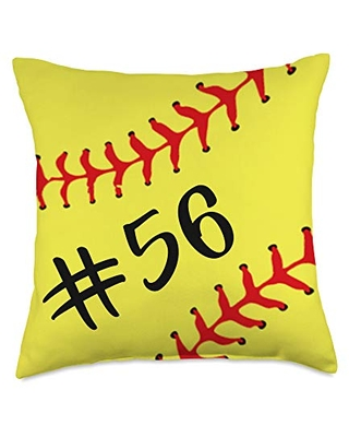 Softball Player Accessories Home Decoration Gifts Softball Player Jersey Back No 56 Number Sport Gift Throw Pillow, 18x18, Multicolor
