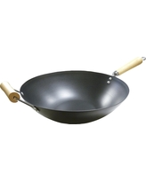 Imusa 14 Carbon Steel Wok with Wooden Handle - Black