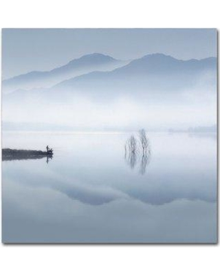 """Trademark Fine Art 'Blue Silence' Graphic Art Print on Wrapped Canvas 1X02833-C Size: 35"""" H x 35"""" W"""
