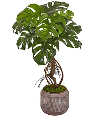 Nearly Natural 26in. Monstera Artificial Stoneware Planter Silk Plants, Green
