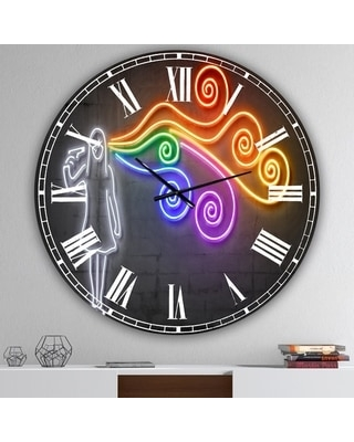 Designart 'The dark side of the mind' Modern Wall Clock (38 in. wide x 38 in. high)