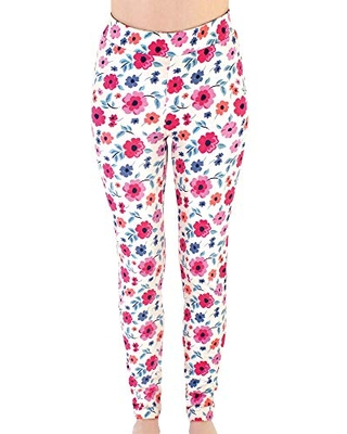 Touched by Nature Girls' Women Organic Cotton Leggings, Garden Floral Women, Large