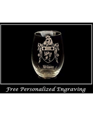Free Personalized Engraving Doyle Family Coat of Arms Clear Stemless Wine Glass 18 oz